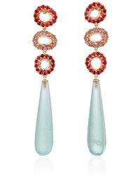 "Shawn Ames - One-Of-A-Kind ""Signature Sucre"" Pink Sapphires, Red Sapphires And Aquamarine Earrings - Lyst"