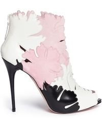Alexander McQueen Lotus Flower Appliqué Leather Peep Toe Boots - Lyst