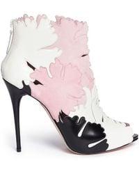 Alexander McQueen Lotus Flower Appliqué Leather Peep Toe Boots multicolor - Lyst