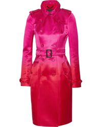Burberry Prorsum Belted Silksatin Trench Coat - Lyst
