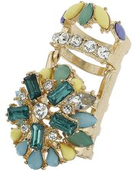 Topshop Rhinestone Flower Hinged Ring Yellow - Lyst