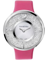 Swarovski Women'S Swiss Crystalline Interchangeable Leather Strap Watch Set 40Mm 5096698 pink - Lyst