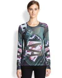Adidas X Mary Katrantzou Printed Mesh Fitted Tee - Lyst
