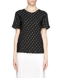 Chloé Metallic Embroidery Short Sleeve Blouse - Lyst