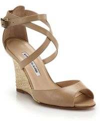 Manolo Blahnik Raffia-Wedge Leather Sandals - Lyst
