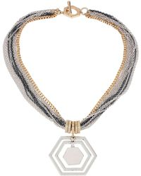 Kenneth Cole Tritone Multichain Necklace with Geometric Pendant