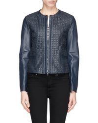 Armani Collarless Lasercut Check Leather Jacket - Lyst