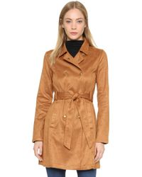 Re:named - Faux Suede Trench Coat - Camel - Lyst