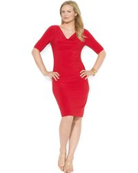 Lauren by Ralph Lauren Plus Cowlneck Draped Matte Jersey Dress - Lyst