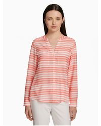 CALVIN KLEIN 205W39NYC - Printed Roll Sleeve Button-front Blouse - Lyst