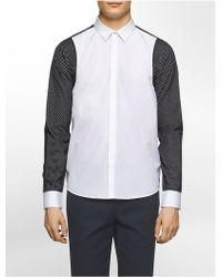 CALVIN KLEIN 205W39NYC - Platinum Platinum Regular Fit Mesh Overlay Long-sleeve Shirt - Lyst