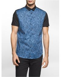 CALVIN KLEIN 205W39NYC - Slim Fit Scribble Print Short Sleeve Shirt - Lyst