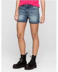 Calvin Klein | Jeans Mid Blue Vintage Cut-off Denim Shorts | Lyst