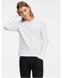 Calvin Klein - Classic Fit Long Sleeve V-neck Ribbed Tee - Lyst