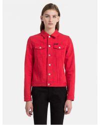CALVIN KLEIN 205W39NYC - Tango Red Denim Trucker Jacket - Lyst