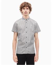 Calvin Klein - Striped Button Down Short Sleeve Shirt - Lyst