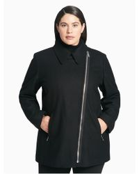 c58e921da50 Lyst - Calvin Klein Plus Size Asymmetrical Zip Coat in Black