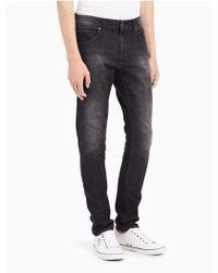 Calvin Klein - Sculpted Metal Black Slim Jeans - Lyst
