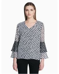 CALVIN KLEIN 205W39NYC - V-neck Tiered Sleeve Top - Lyst