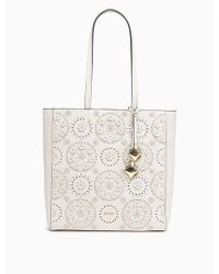 Calvin Klein | Floral Perforated Leather Tote | Lyst
