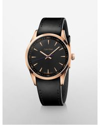 CALVIN KLEIN 205W39NYC - Bold Rose Gold Leather Watch - Lyst