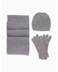 CALVIN KLEIN 205W39NYC - 3-piece Waffle Knit Hat, Scarf + Gloves Set - Lyst