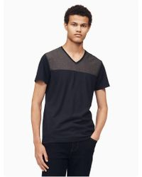 CALVIN KLEIN 205W39NYC - Slim Fit V-neck Woven Colorblock T-shirt - Lyst