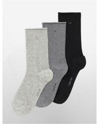 18d1d279d93 CALVIN KLEIN 205W39NYC - Underwear 3-pack Combed Cotton Rolled Cuff Crew  Socks - Lyst