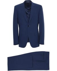 Canali - Navy Blue Super 140s Impeccabile Wool Siena Suit With Crosshatch Texture - Lyst
