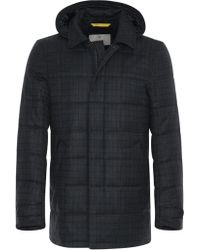 Canali - Blue Super 120s Wool Waterproof Jacket With Overcheck - Lyst