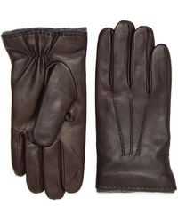 Canali - Brown Nappa Leather Gloves - Lyst