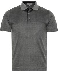 Canali - Charcoal Gray Cotton Jersey Polo Shirt With Micro-motif - Lyst