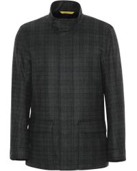 Canali - Gray Water-repellent Super 120s Wool Field Jacket With Overcheck - Lyst