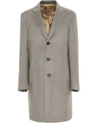 Canali - Light Brown Pure Cashmere Coat With Ivory Stripes - Lyst