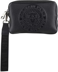 Balmain - Embossed Medallion Grainy Leather Pouch - Lyst