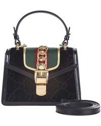 633589e5770ff0 Gucci - Sylvie Mini Bag In Gg Black Velvet With Black Patent Leather Trim -  Lyst