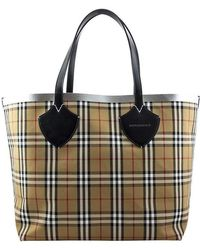 5d65cbe7cfd9 Lyst - Burberry The Giant Reversible Tote In Canvas Check And Leather