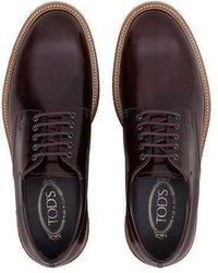 Tod's - Burgundy Lace-ups In Leather - Lyst