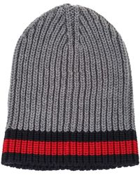 a33898ce862 Gucci - Ribbed Grey Wool Hat With Blue And Red Web Detail - Lyst