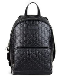 2da5ee0d0787 Gucci - Black Leather Backpack In Signature - Lyst