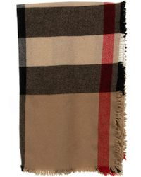 Burberry - Fringed Check Wool Cashmere Scarf - Lyst