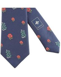 b8b2c4061f05 Gucci - Blue Silk Tie With Flower Pattern And Kingsnake - Lyst