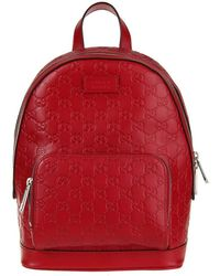 6e1a897532db Gucci - Red Signature Leather Backpack With Black Leather Trim - Lyst