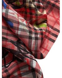 Burberry - Graffiti Print Vintage Check Wool Silk Scarf Blossom Pink - Lyst