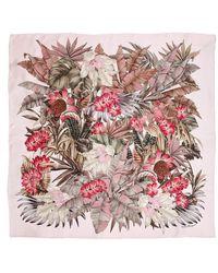 Ferragamo - Silk Scarf With Foliage Print - Lyst