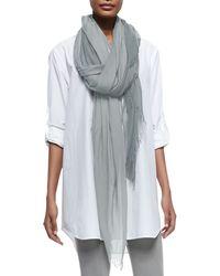 Donna Karan - Fringed Woven Silk-Blend Scarf - Lyst