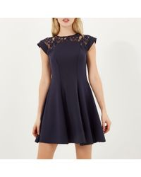 River Island Navy Blue Lace Top Skater Dress - Lyst