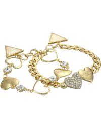 Guess Double Heart Bracelet With Triangle - Lyst