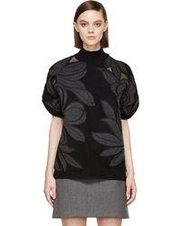 3.1 Phillip Lim Black Floral Appliqu Sweater - Lyst