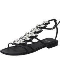 Fendi Croc Flat Sandal - Lyst